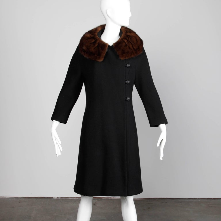 Women's Vintage Black Wool Asymmetric Coat with Brown Mink Fur Collar, 1960s  For Sale