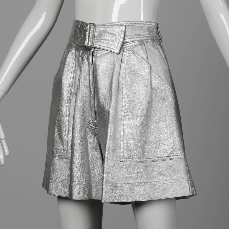 c1dde1040503 Women s Krizia Vintage High Waist Metallic Silver Leather Shorts with  Attached Belt For Sale
