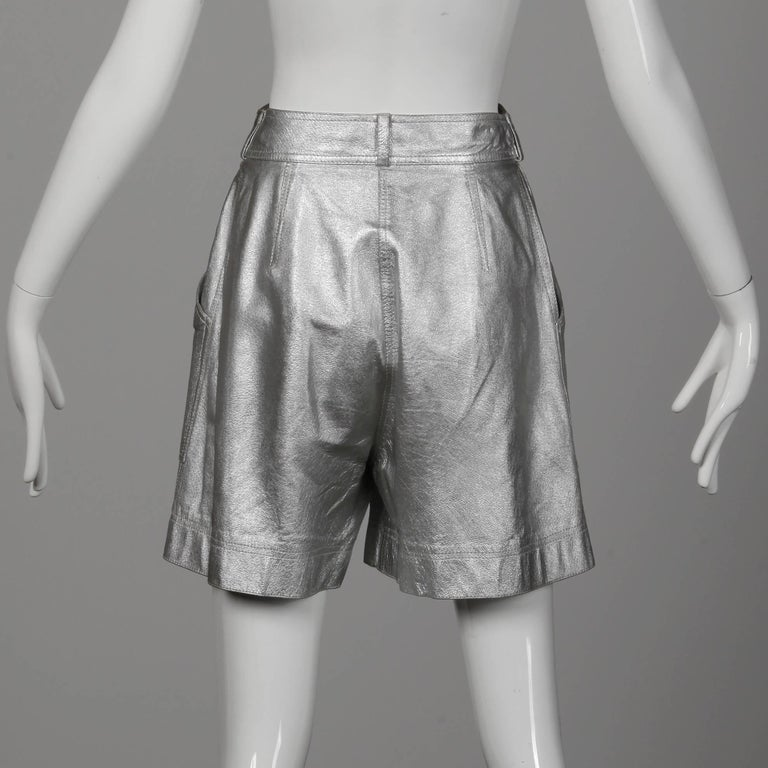 Krizia Vintage High Waist Metallic Silver Leather Shorts with Attached Belt For Sale 1