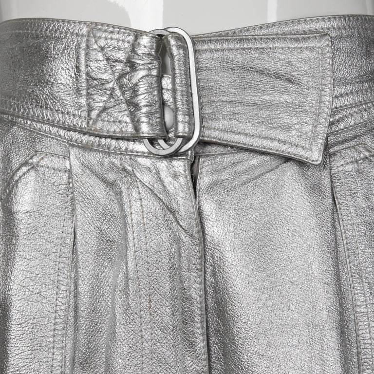 Krizia Vintage High Waist Metallic Silver Leather Shorts with Attached Belt For Sale 2