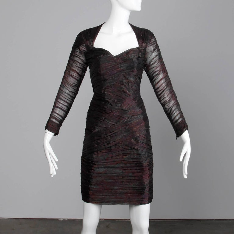 Black 1990s Jacques Molko Vintage Iridescent Pleated Cocktail Dress For Sale