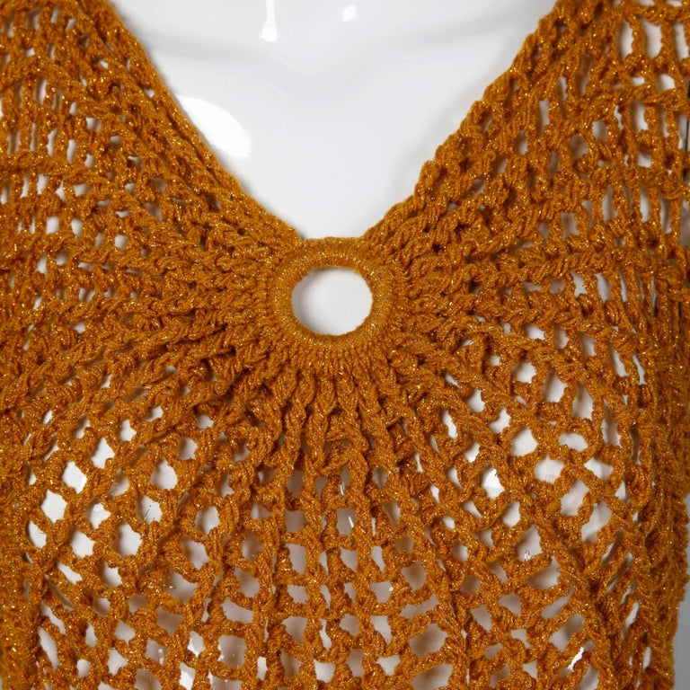 Women's Vintage Metallic Gold Hand Crochet Knit Sweater Top or Shirt, 1970s  For Sale