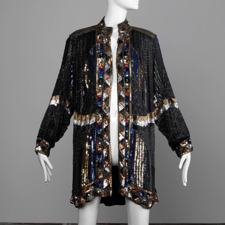 Vintage Silk Metallic Sequin Beaded + Rhinestone Embellished Jacket Coat/ Duster In Excellent Condition For Sale In Sparks, NV