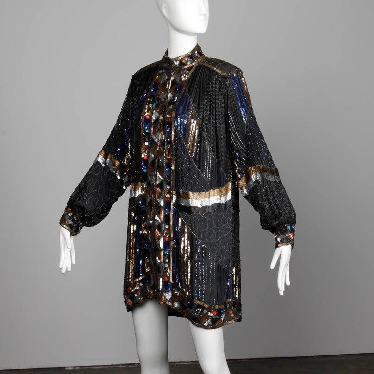 Women's Vintage Silk Metallic Sequin Beaded + Rhinestone Embellished Jacket Coat/ Duster For Sale