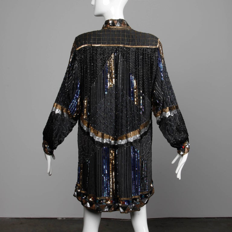 Vintage Silk Metallic Sequin Beaded Rhinestone