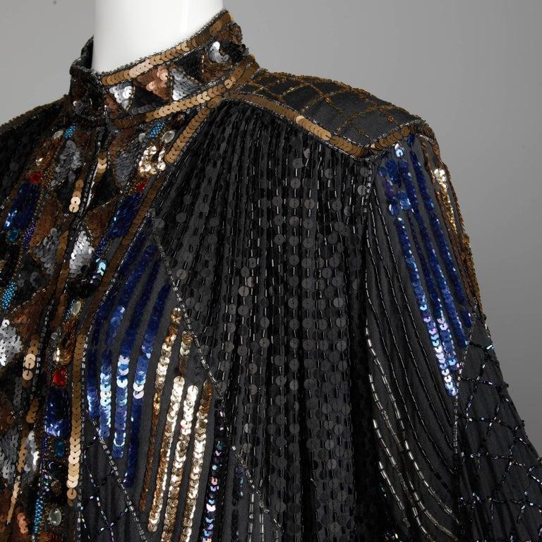 Vintage Silk Metallic Sequin Beaded + Rhinestone Embellished Jacket Coat/ Duster For Sale 1