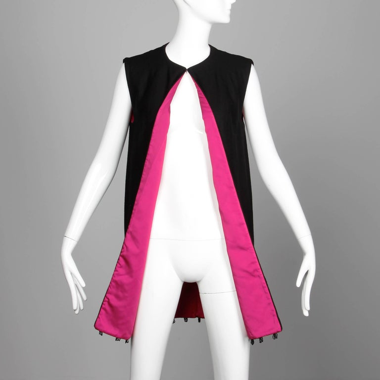 Women's 1960s Mr. Blackwell Vintage Black + Pink Wool Beaded + Sequin Vest Jacket / Coat For Sale