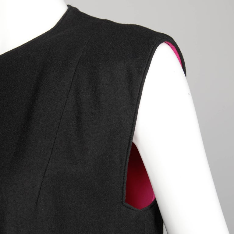 1960s Mr. Blackwell Vintage Black + Pink Wool Beaded + Sequin Vest Jacket / Coat For Sale 4