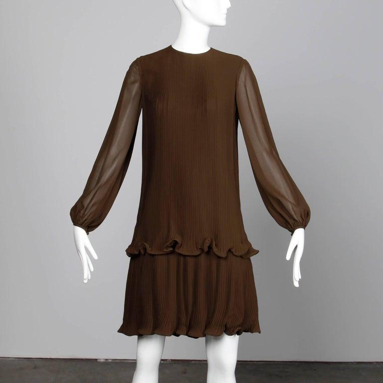 Black Stunning 1970s Pierre Cardin Vintage Brown Silk Pleated Drop Waist Dress For Sale