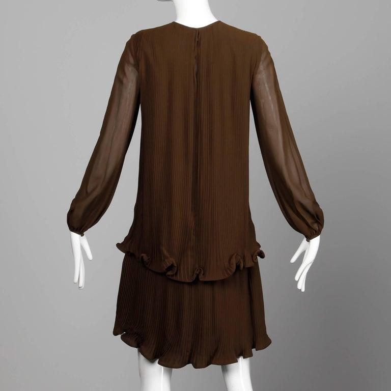 Women's Stunning 1970s Pierre Cardin Vintage Brown Silk Pleated Drop Waist Dress For Sale