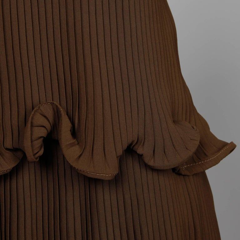 Stunning 1970s Pierre Cardin Vintage Brown Silk Pleated Drop Waist Dress For Sale 1