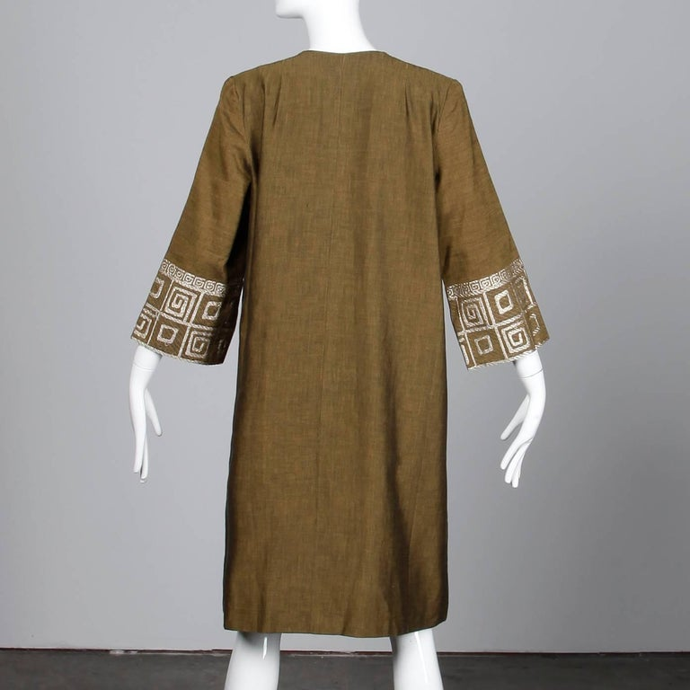 Women's 1960s Vintage Olive Green Greek-Made Swing Coat + Matching Bag with Embroidery For Sale