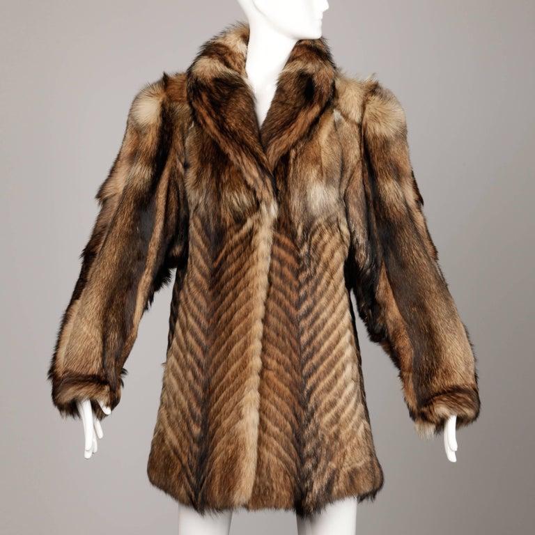Vintage Brown + Beige Feathered Chevron Wolf Fur Short Car Coat or ...