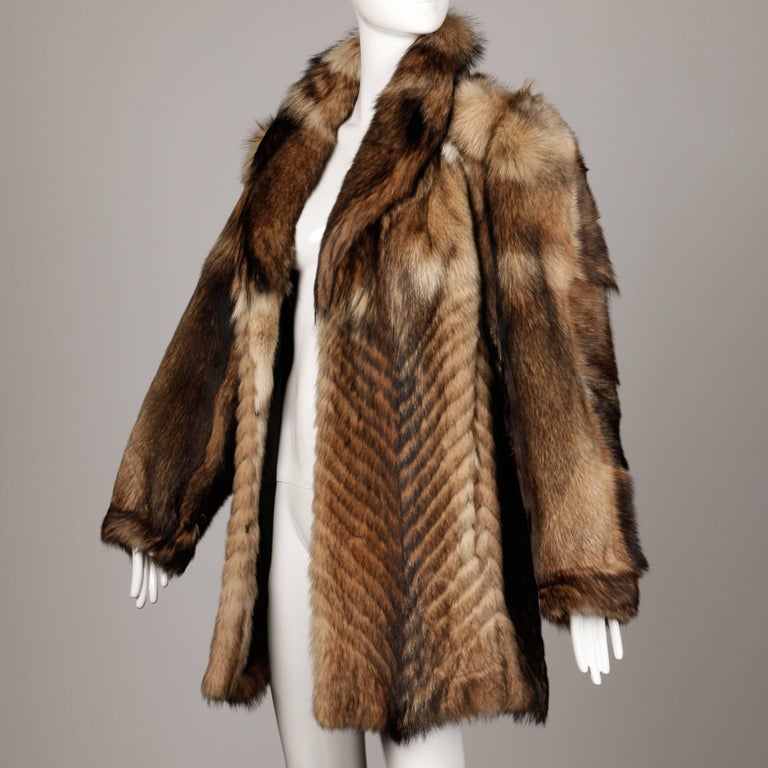 Vintage Brown + Beige Feathered Chevron Wolf Fur Short Car Coat or ...