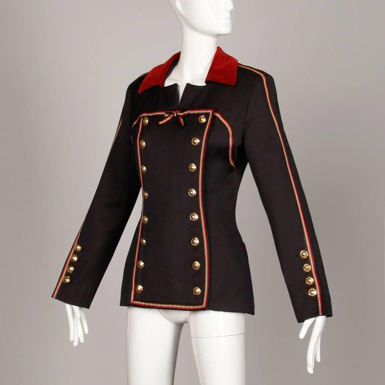 Black 1990s Gemma Kahng Vintage Wool + Velvet Double Breasted Military Blazer Jacket For Sale