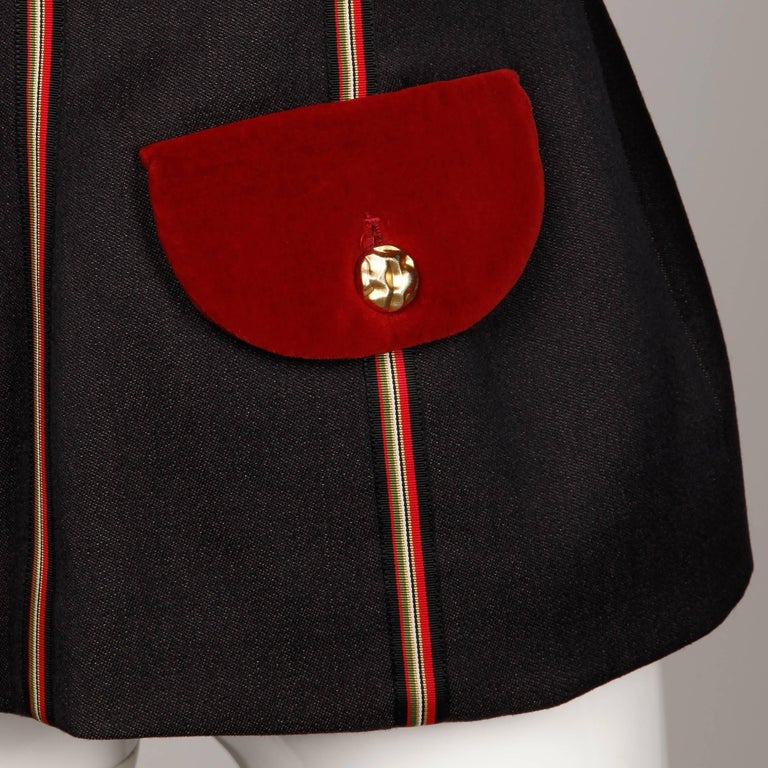 1990s Gemma Kahng Vintage Wool + Velvet Double Breasted Military Blazer Jacket For Sale 2