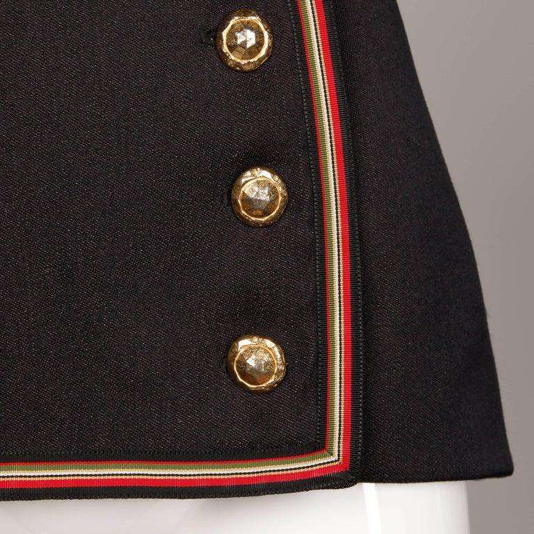 1990s Gemma Kahng Vintage Wool + Velvet Double Breasted Military Blazer Jacket For Sale 1