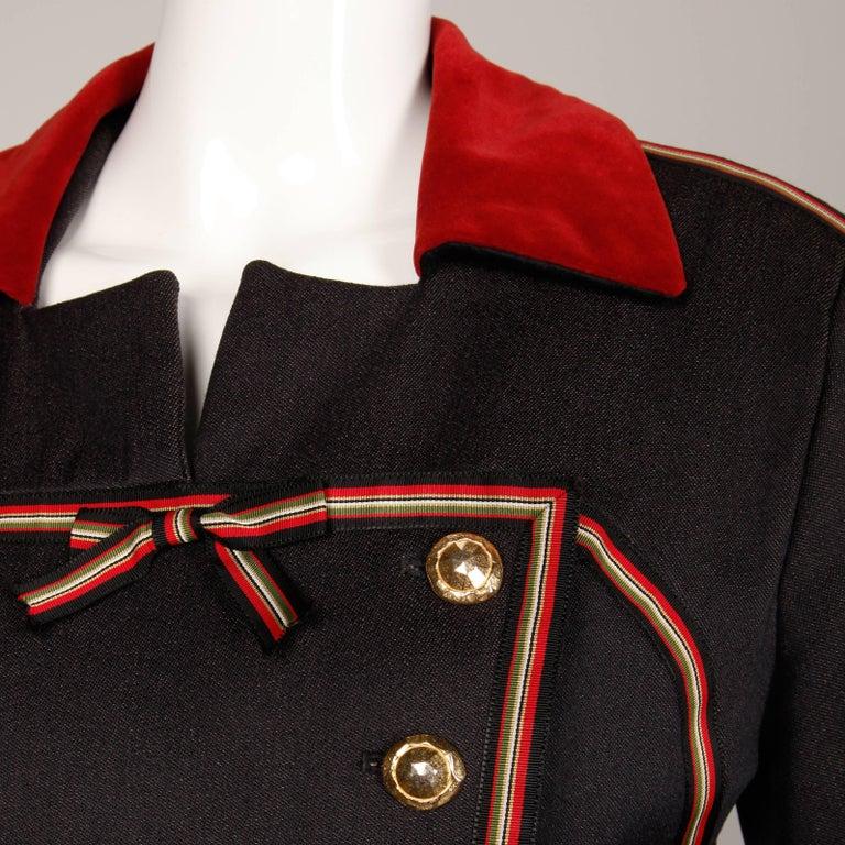 Women's 1990s Gemma Kahng Vintage Wool + Velvet Double Breasted Military Blazer Jacket For Sale