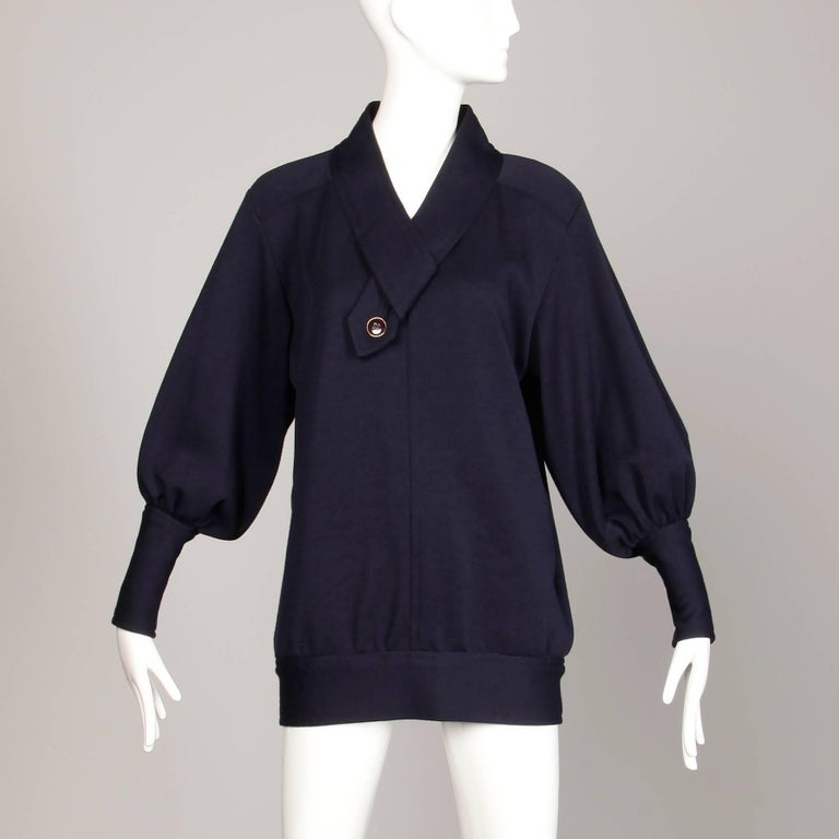 2b59f64ff646 Black Yves Saint Laurent YSL Vintage Navy Blue Wool Knit Sweater or Jumper  Top For Sale