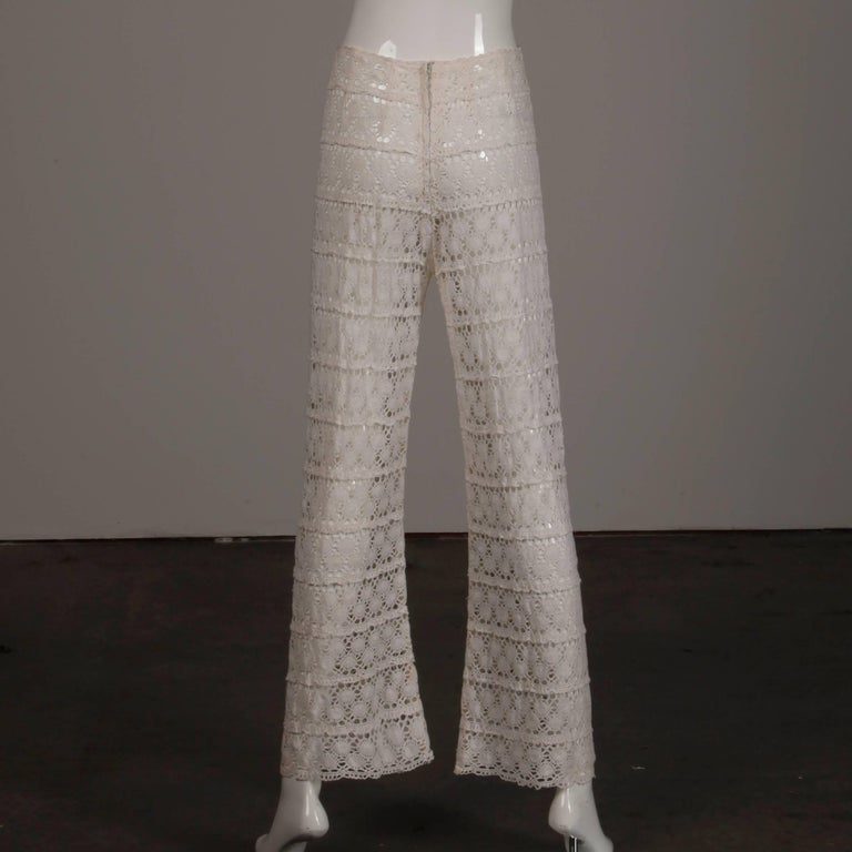 White Crochet Lace Vintage Bell Bottom Pants and Top Ensemble or Jumpsuit, 1970s For Sale 2