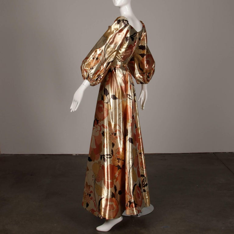 1970s Arnold Scaasi Vintage Metallic Gold Lamé Silk Dress/ Gown (Skirt + Top) For Sale 4