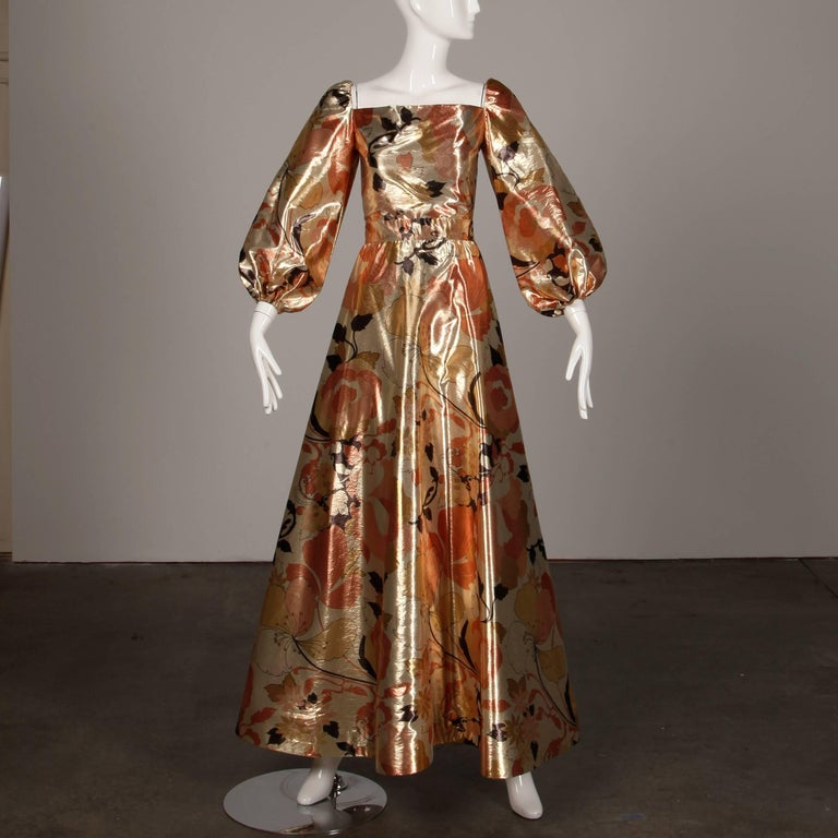 1970s Arnold Scaasi Vintage Metallic Gold Lamé Silk Dress/ Gown (Skirt + Top) In Excellent Condition For Sale In Sparks, NV