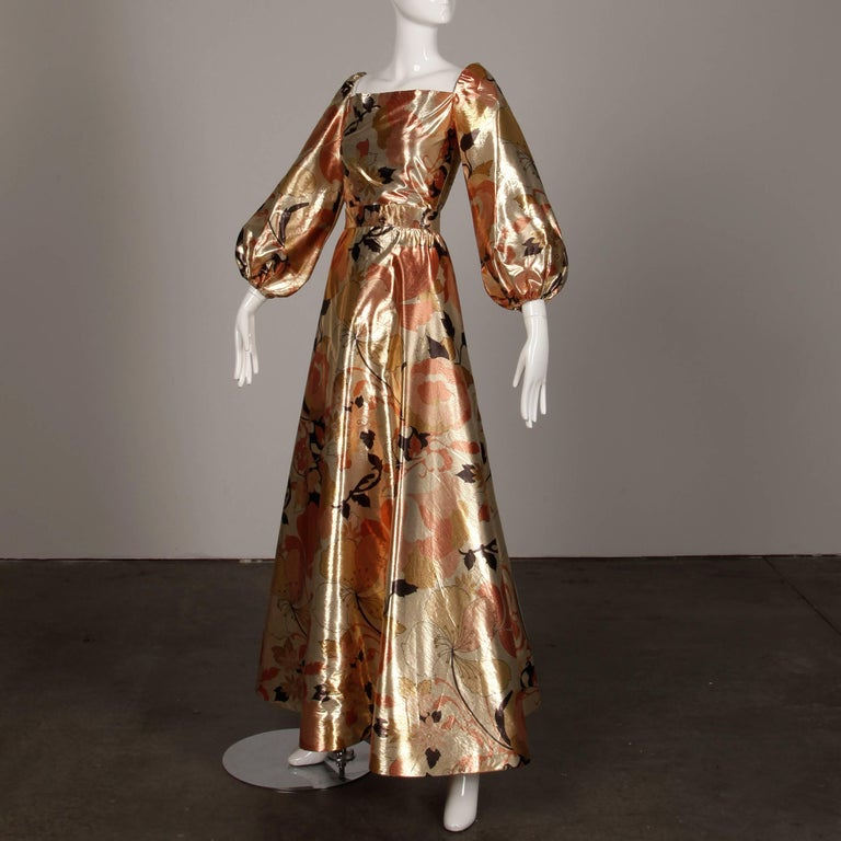 1970s Arnold Scaasi Vintage Metallic Gold Lamé Silk Dress/ Gown (Skirt + Top) For Sale 1
