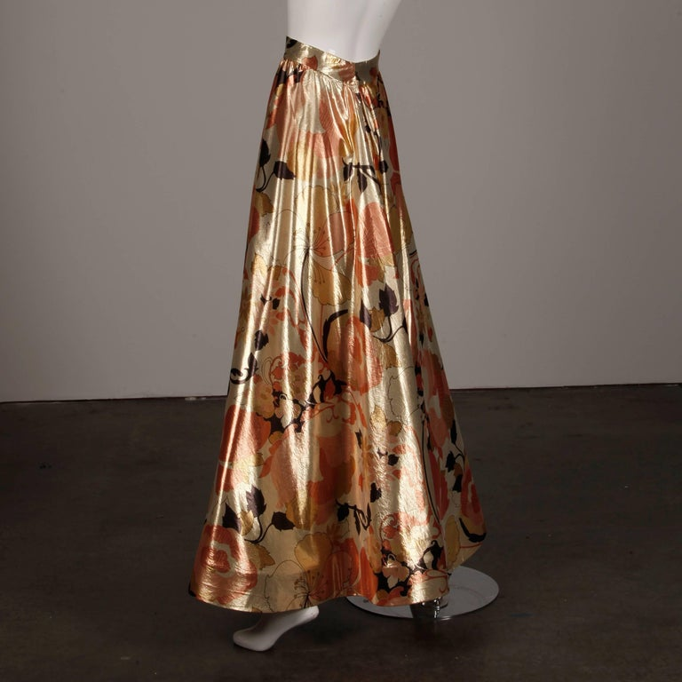 1970s Arnold Scaasi Vintage Metallic Gold Lamé Silk Dress/ Gown (Skirt + Top) For Sale 2