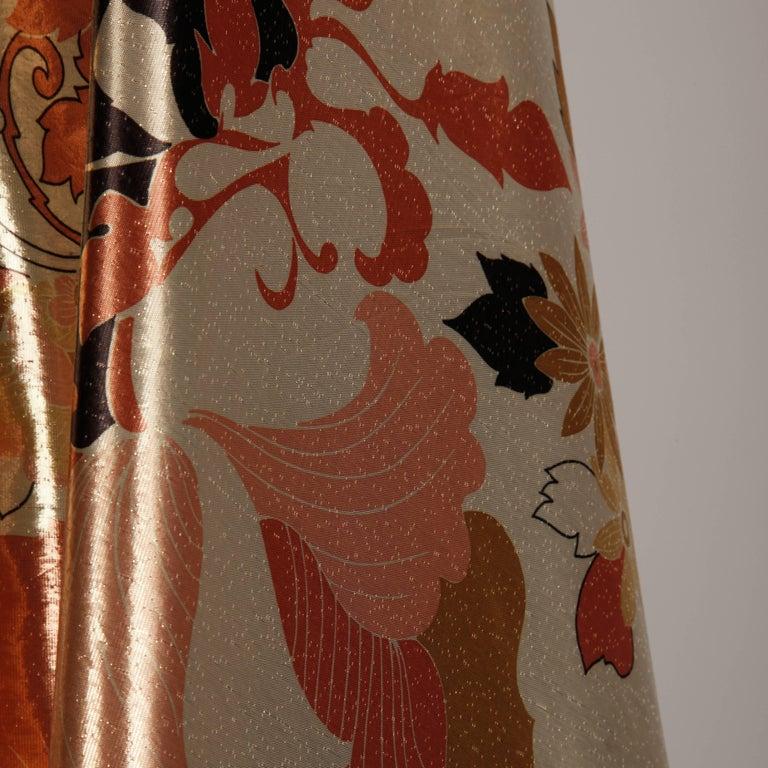 Women's 1970s Arnold Scaasi Vintage Metallic Gold Lamé Silk Dress/ Gown (Skirt + Top) For Sale