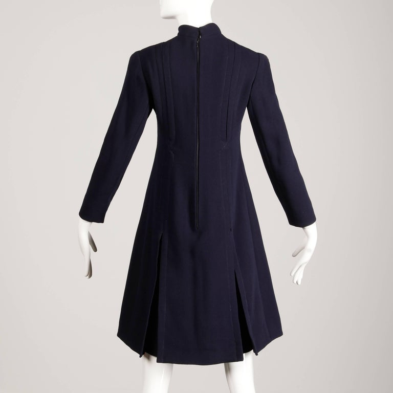 1960s Geoffrey Beene Vintage Navy Wool/ Silk Pleated Mod Dress with Long Sleeves For Sale 2