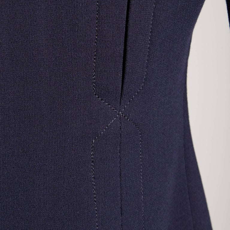 1960s Geoffrey Beene Vintage Navy Wool/ Silk Pleated Mod Dress with Long Sleeves In Excellent Condition For Sale In Sparks, NV