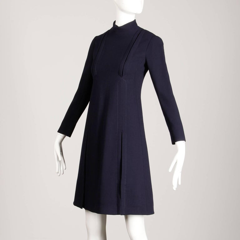 Women's 1960s Geoffrey Beene Vintage Navy Wool/ Silk Pleated Mod Dress with Long Sleeves For Sale