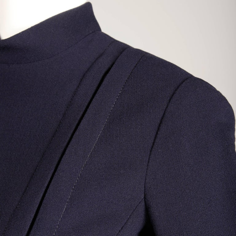 1960s Geoffrey Beene Vintage Navy Wool/ Silk Pleated Mod Dress with Long Sleeves For Sale 1