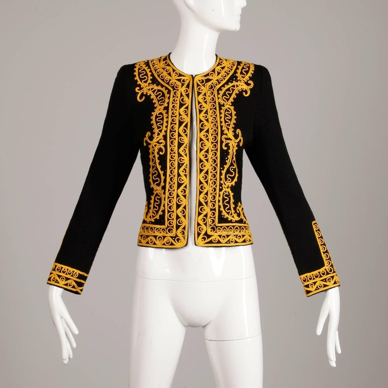 Women's Adolfo Vintage Black Beaded Knit Cardigan Sweater Jacket with Gold Embroidery For Sale