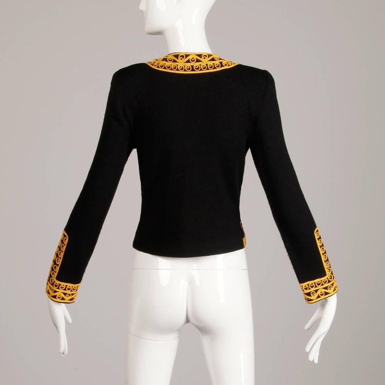Adolfo Vintage Black Beaded Knit Cardigan Sweater Jacket with Gold Embroidery For Sale 2