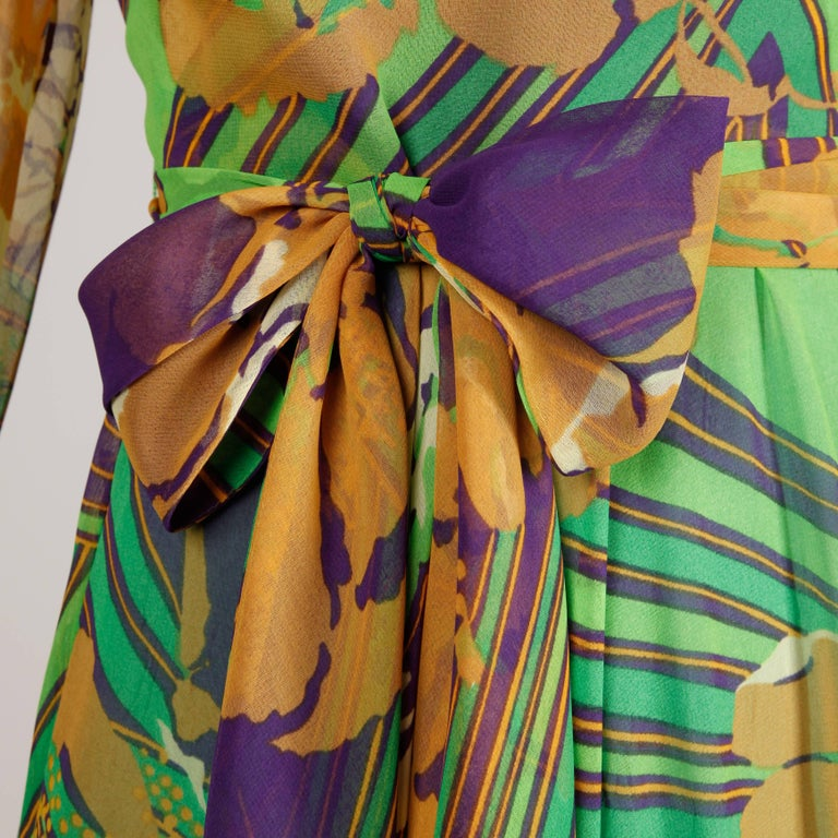 1970s Vintage Tropical Print Sheer Sleeves Chiffon Maxi Dress with Full Sweep For Sale 1