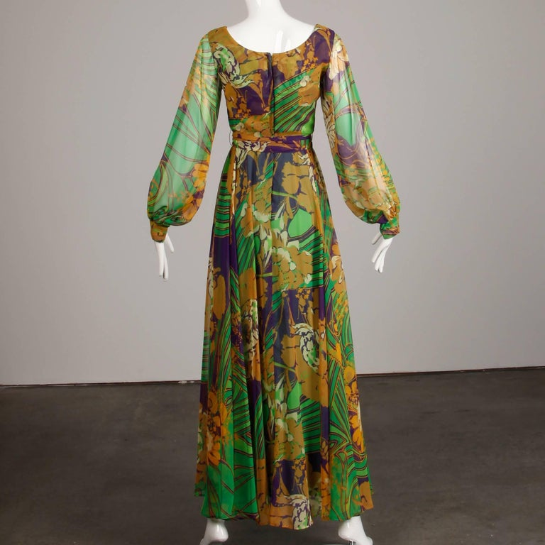 Women's 1970s Vintage Tropical Print Sheer Sleeves Chiffon Maxi Dress with Full Sweep For Sale
