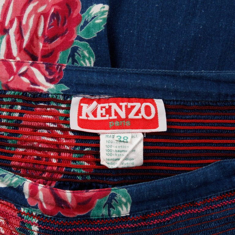 75a9d42eab 1970s Kenzo Vintage Blue Denim Chambray Jeans Skirt with Floral Rose Print  In Excellent Condition For