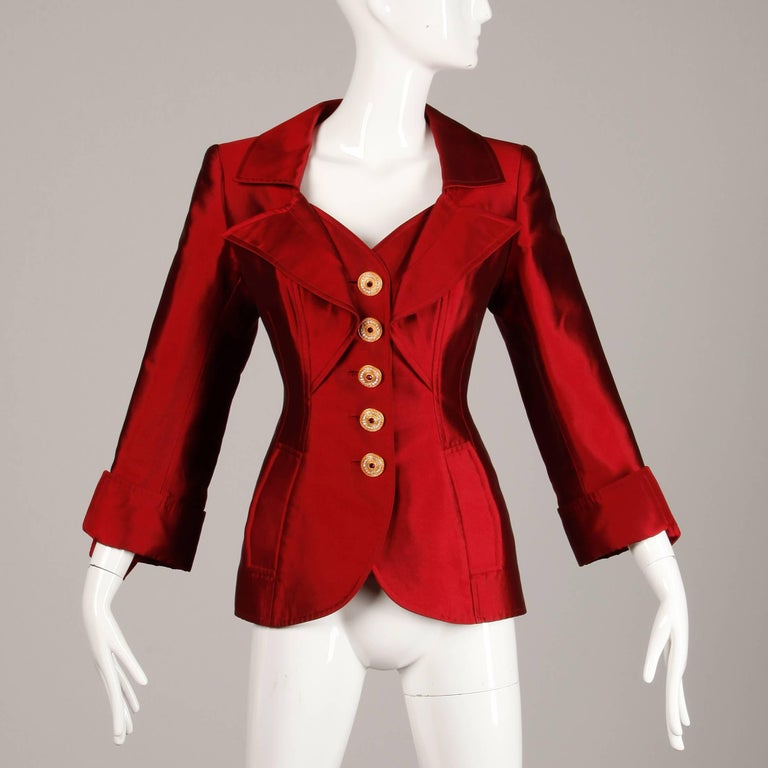Christian Lacroix Vintage Metallic Red Taffeta Rhinestone Origami Jacket, 1990s  For Sale 1