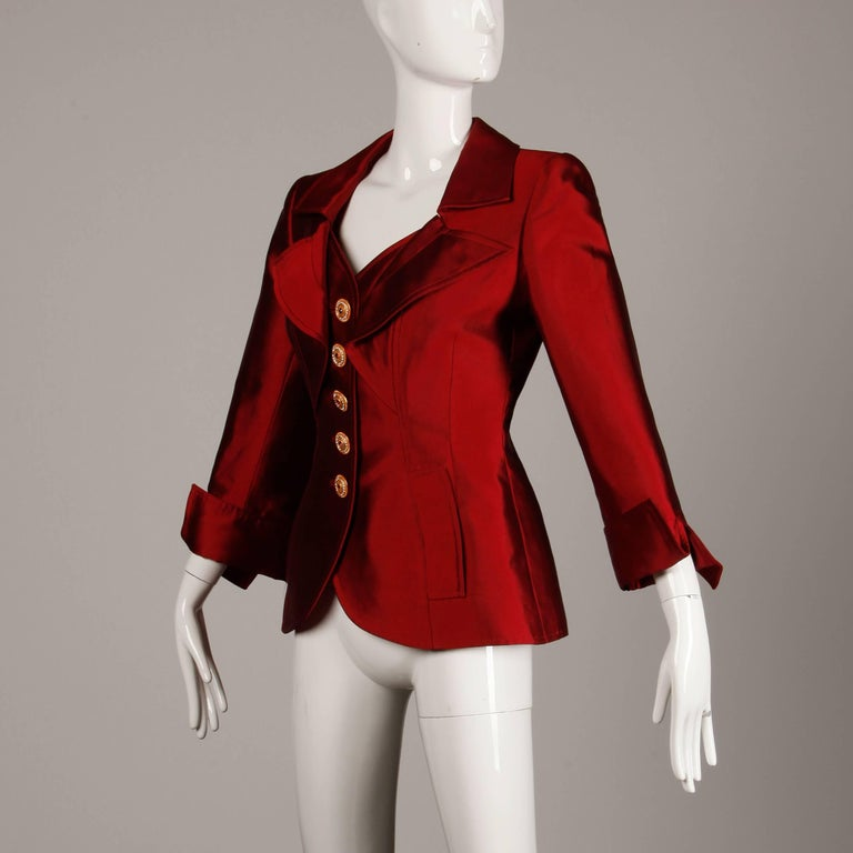 Christian Lacroix Vintage Metallic Red Taffeta Rhinestone Origami Jacket, 1990s  In Excellent Condition For Sale In Sparks, NV