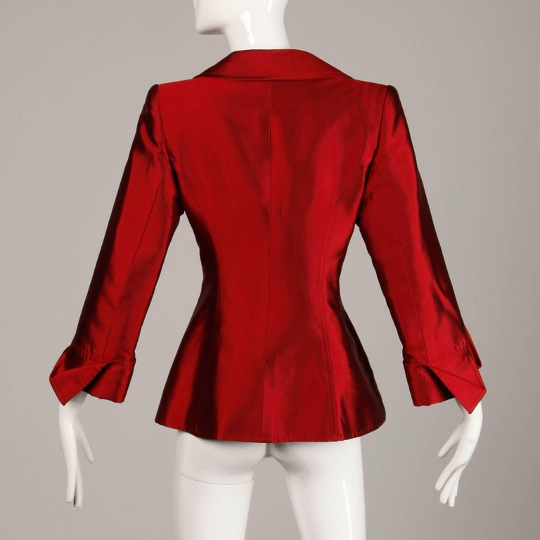Christian Lacroix Vintage Metallic Red Taffeta Rhinestone Origami Jacket, 1990s  For Sale 3