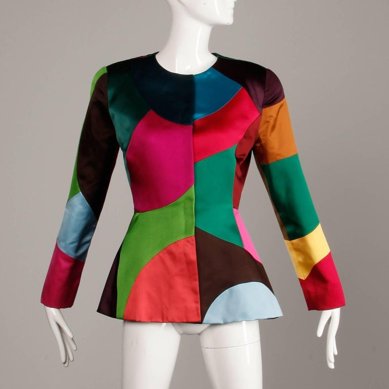 Oscar de la Renta Vintage Rainbow Color Block Silk Evening Jacket, 1980s  In Excellent Condition For Sale In Sparks, NV