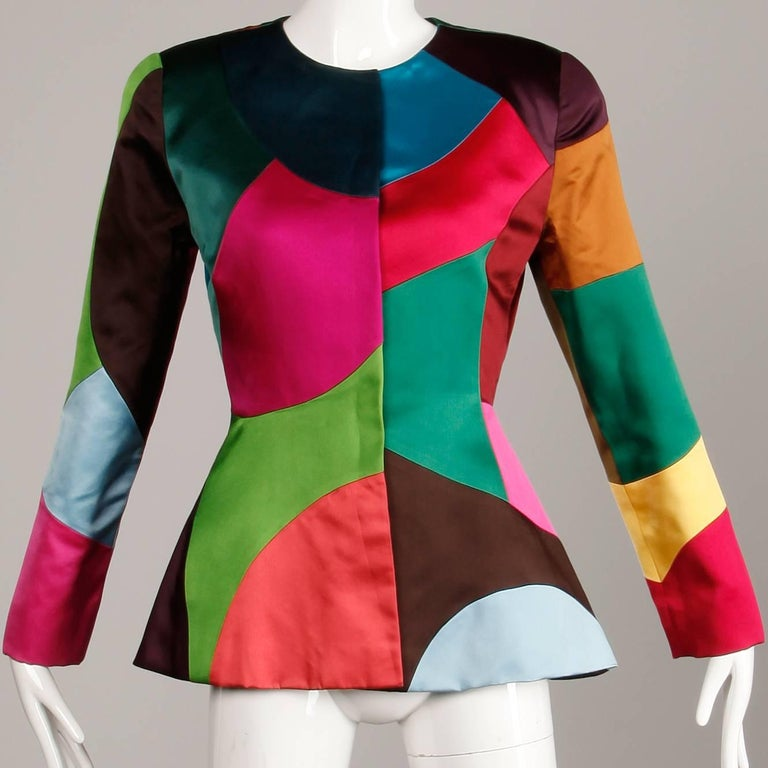 Oscar de la Renta Vintage Rainbow Color Block Silk Evening Jacket, 1980s  For Sale 3