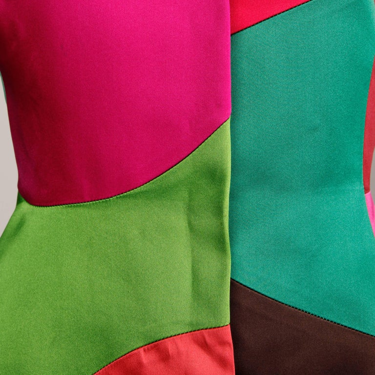 Oscar de la Renta Vintage Rainbow Color Block Silk Evening Jacket, 1980s  For Sale 2
