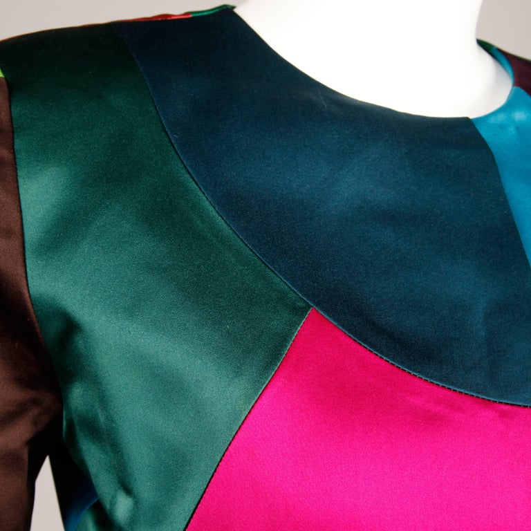 Women's Oscar de la Renta Vintage Rainbow Color Block Silk Evening Jacket, 1980s  For Sale