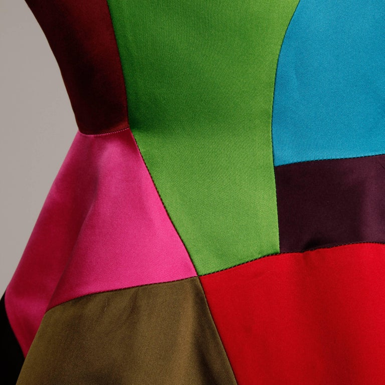 Black Oscar de la Renta Vintage Rainbow Color Block Silk Evening Jacket, 1980s  For Sale