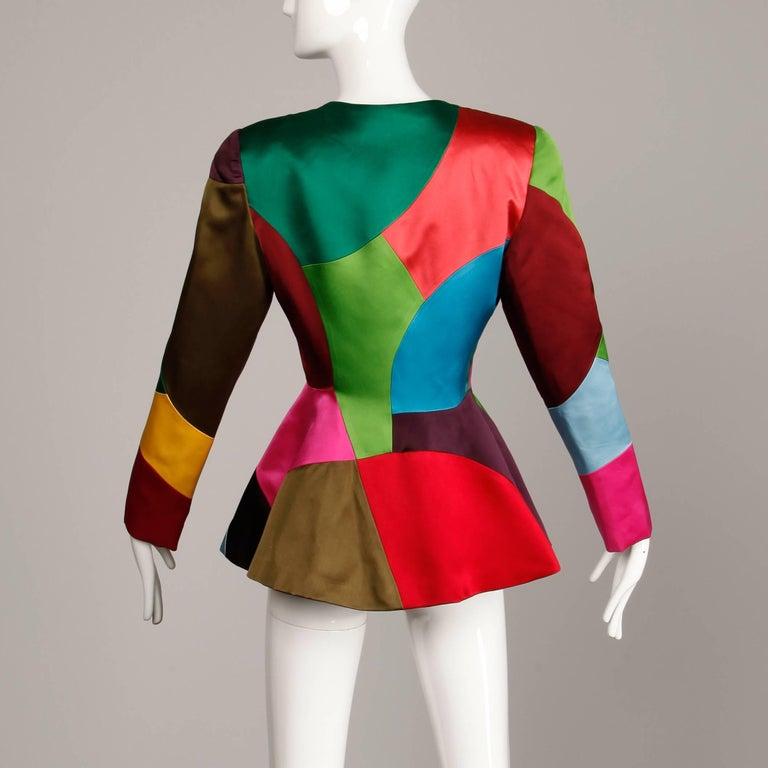 Oscar de la Renta Vintage Rainbow Color Block Silk Evening Jacket, 1980s  For Sale 1