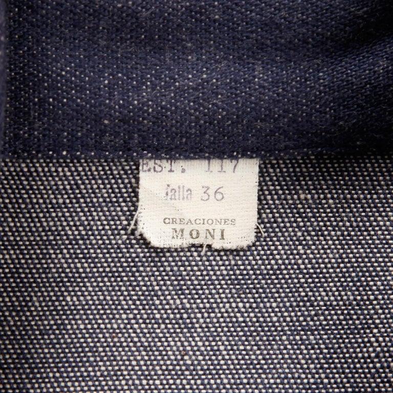 1970s Vintage Hippie Denim Jean Jacket with Orange + Blue Bird Embroidery For Sale 2