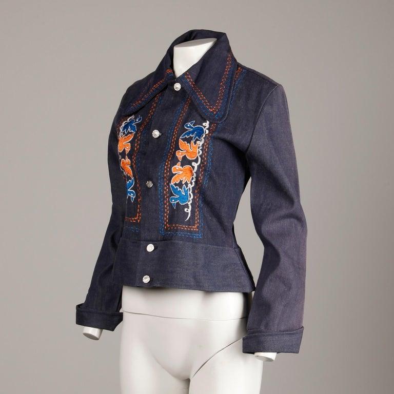 Black 1970s Vintage Hippie Denim Jean Jacket with Orange + Blue Bird Embroidery For Sale