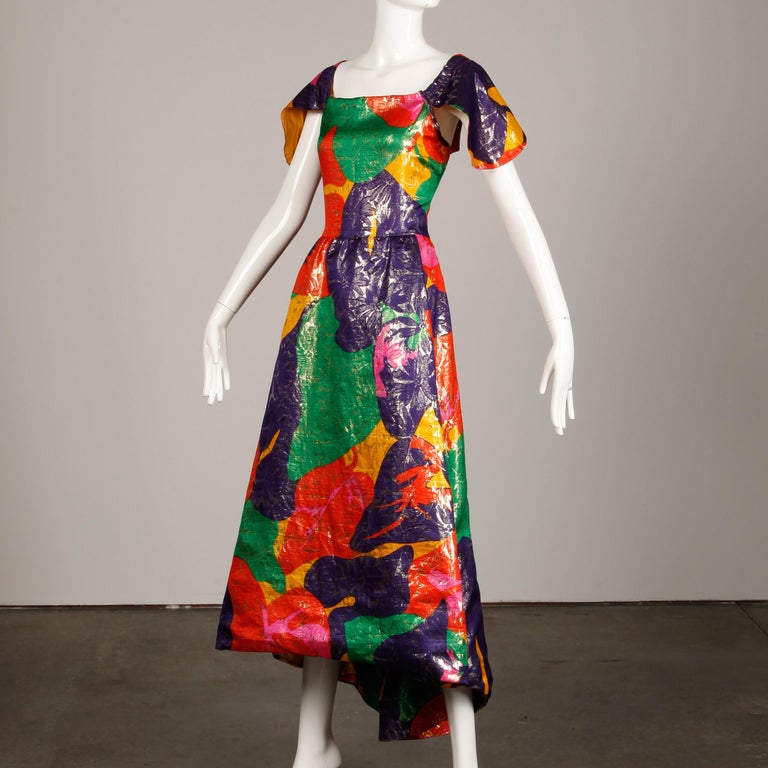Black Arnold Scaasi Vintage Colorful Metallic Lamé Silk Evening Gown Dress, 1970s  For Sale